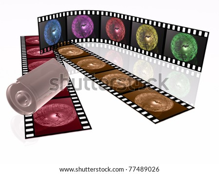 Film rolls and cassette with color pictures (communication).
