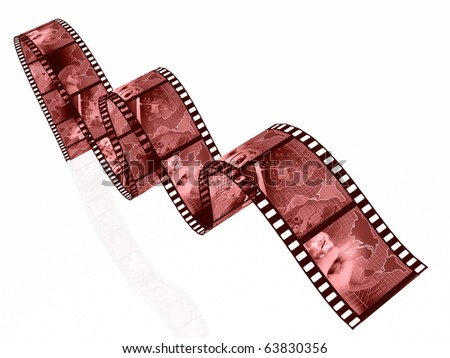 Film rolls with pictures in reds (communication).