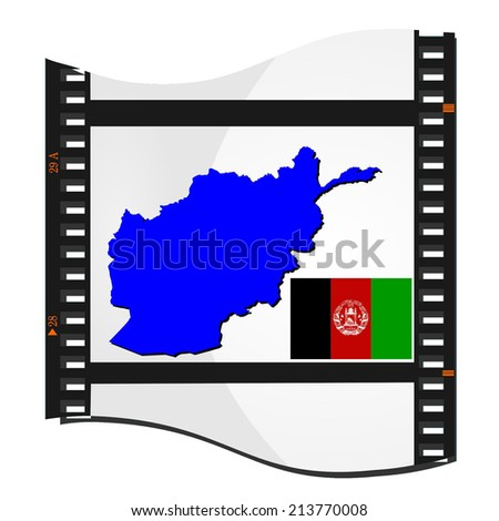 Film shots with a national map of  Afghanistan - stock photo