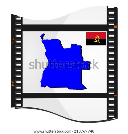 Film shots with a national map of   Angola - stock photo