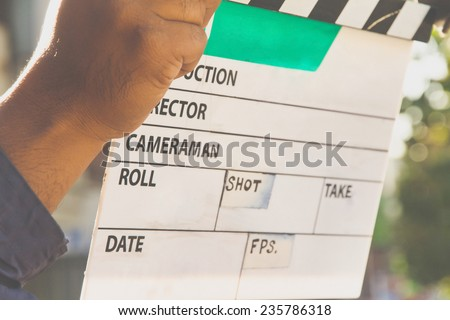 Film Slate,behind the scene, film crew production set - stock photo
