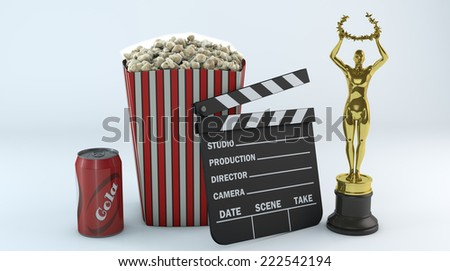 Film slate, popcorn, soda, Cola isolated on white. High resolution 3D rendering./Cinema objects  - stock photo