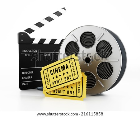 Film slate, reel and tickets isolated on white