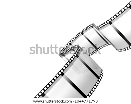 Film strip isolated on white background. 3d illustration