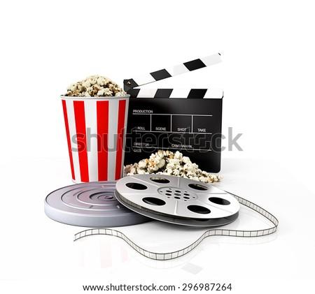 Film strip vs holder, clapper, popcorn - stock photo