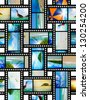 Film strip with beautiful holiday pictures of tropical beach - stock photo