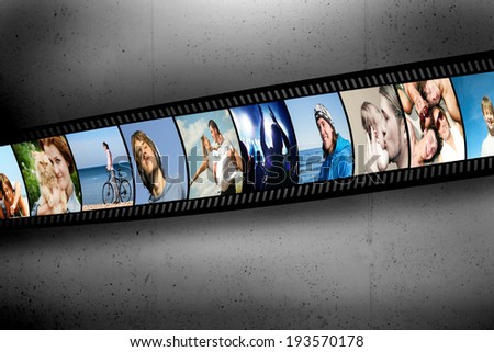 Film strip with colorful, vibrant photographs on grunge wall. People theme. All pictures used are mine - stock photo