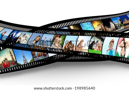 Film strip with colorful, vibrant photographs on white background. Various themes. All pictures used are mine