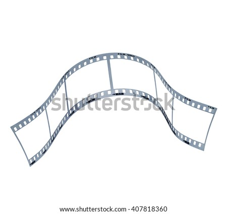 Film strip with empty frames . Clipping path in exterior strip, inside frames and perforations - stock photo