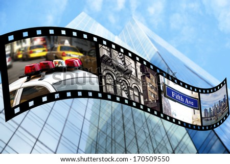 Film strip with views from New York City. All included pictures are my own and available as stock photos. - stock photo