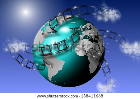 Film strips going all around earth globe with blue sky in the background / Global multimedia - stock photo