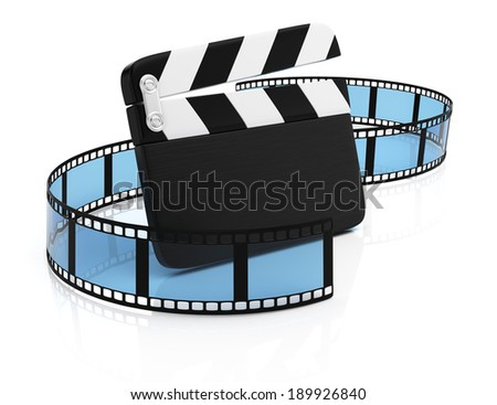 Film tape and clapper board isolated on white background. 3d rendering illustration
