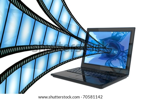 Film to computer isolated on white - stock photo