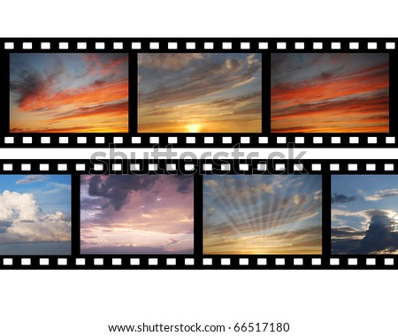 Film with images of sky - stock photo
