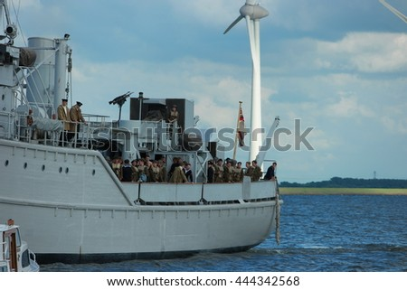 Filming for the World War II action thriller Dunkirk by Urk Netherlands 27 June 2016 - stock photo
