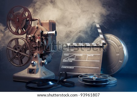 filmmaking concept scene with dramatic lighting - stock photo