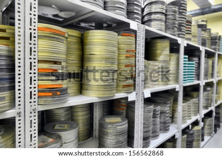 films were stored in the archive - stock photo