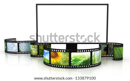Filmstrip with blank TV - stock photo