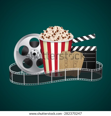 Filmstrip with vintage ticket and popcorn on green background. Cinema concept