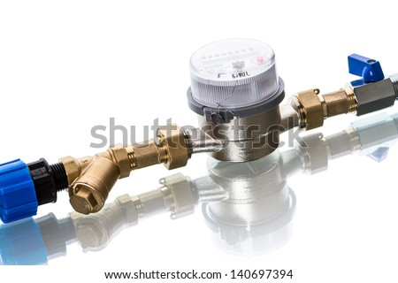 Filter and cold water meters  isolated on white background - stock photo