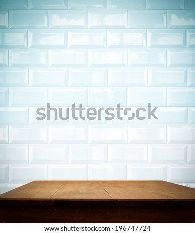 Filter -ceramic brick tile wall and wooden table,for display your product