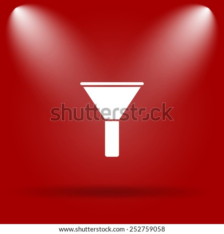 Filter icon. Flat icon on red background.