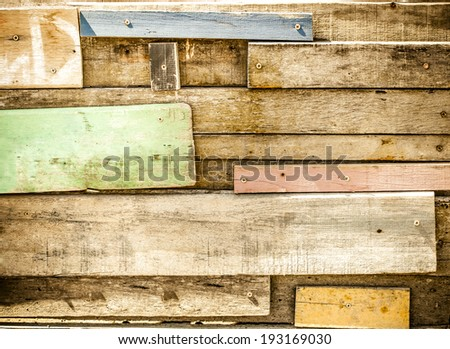 Filtered-Disorder Tropical wooden wall,wooden paint with color - stock photo