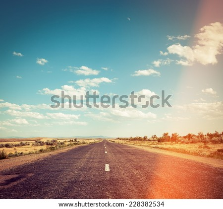 filtered image of deret road - stock photo