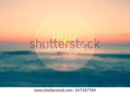 filtered soft focused hello summer sea background - stock photo