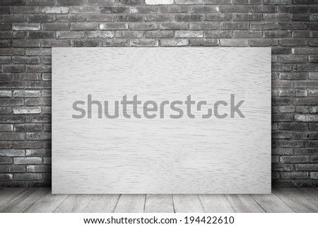 Filtered wood board and brick wall,