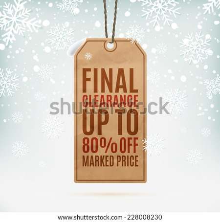 Final clearance price tag on winter background, with snow and snowflakes - stock photo