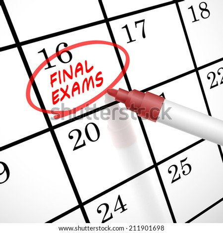 final exams words circle marked on a calendar by a red pen - stock photo