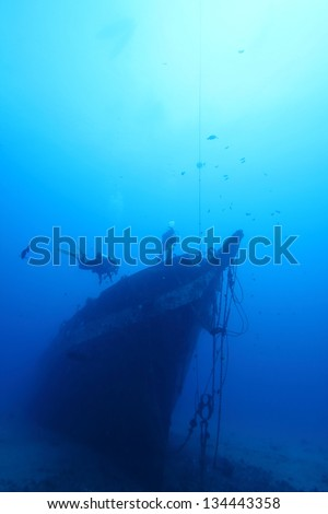 Final Resting Place of the Carthaginian. The tall ship Carthaginian was sunk to make an artificial reef off the coast of Maui, HI. Scuba divers drop down 80ft to check the wreck for underwater life. - stock photo