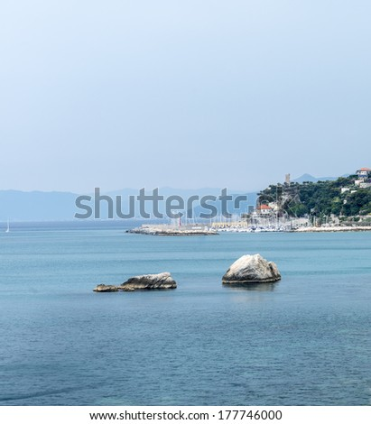 Finale Ligure (Savona, Liguria, Italy), the coast with the harbor in the Riviera Ligure at summer