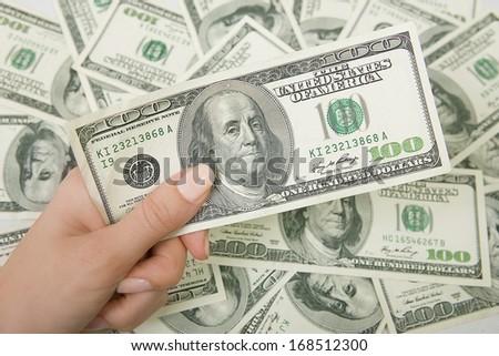 finance: a lot of money (U.S. dollars)  - stock photo