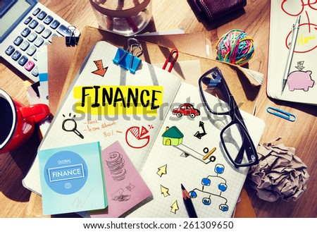 Finance Accounting Adhesive Note Banking Budget Business Concept - stock photo