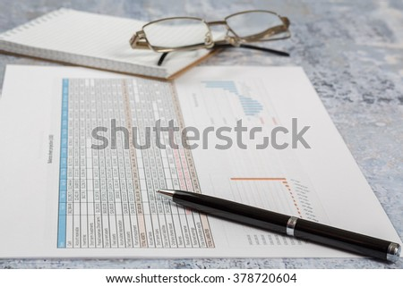 Finance and accounting business, start up, consulting, business plan, concrete table. - stock photo