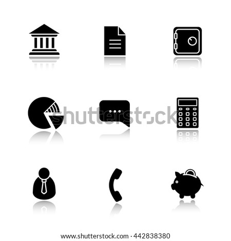 Finance and banking drop shadow icon set. Bank building and deposit box. Piggy bank and shares diagram. Client manager and calculate symbol. Investment and business illustrations. Raster logo concepts - stock photo