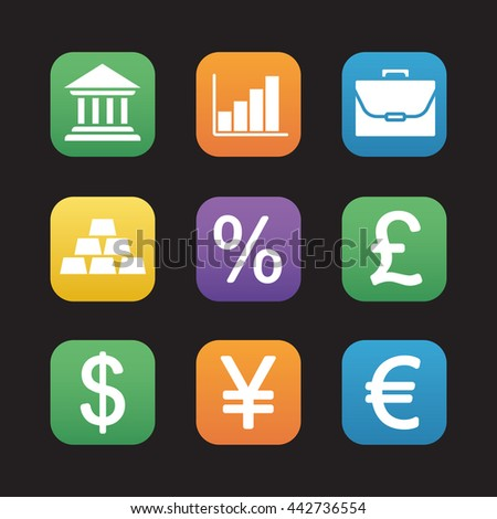 Finance and banking flat design icons set. Trading and stock market web application interface. Deposit chart, exchange rates, gold bars and currency signs. Portfolio and earnings growth graph. Raster - stock photo