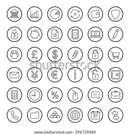 Finance and banking linear icons set. Raster line art symbols isolated on white - stock photo