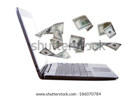 Finance and earning concept, one hundred dollar banknotes flying from laptop, internet, side view, isolated on white background. - stock photo