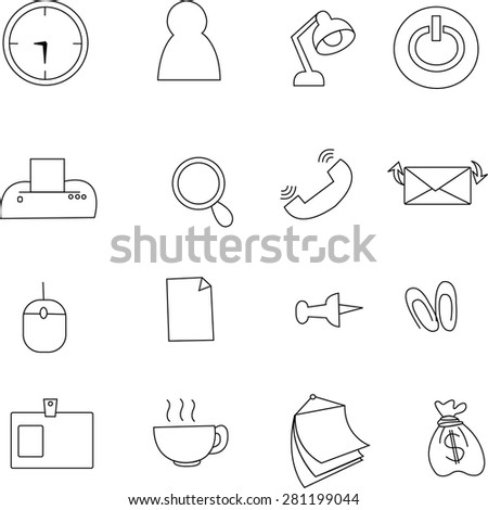Finance and Office icons collection. - stock photo