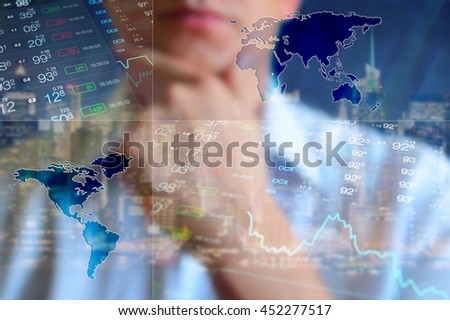 Finance background, business collage. Abstract light finance background: businessman, world map, forex data and chart. Currency price on the Forex. Finance wallpaper, finance collage. Global finance
