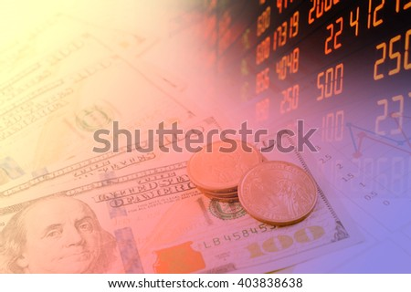 Finance background concept with stock exchange and dollar  - stock photo