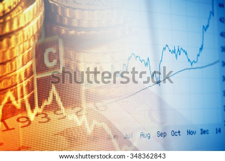 Finance background with chart and coins. Business concept.
