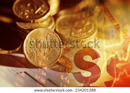 Finance background with coins. - stock photo