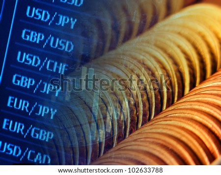 Finance background with coins and currency data. - stock photo