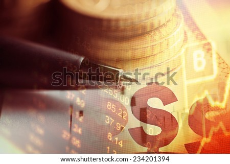 Finance background with coins and pen. - stock photo
