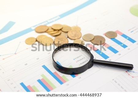Finance background with market data and euro cents.
