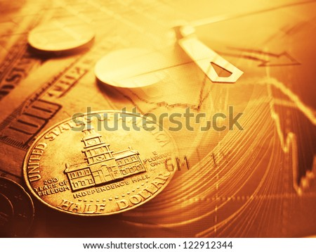 Finance background with money and chart. Finance concept. - stock photo
